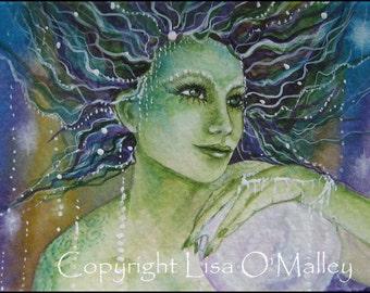 """ACEO Print  """"Pearl Eyes"""" Mermaid Undine Ocean"""
