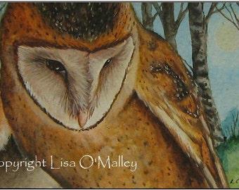 "Aceo Print ""Hunters Moon"" Barn Owl"