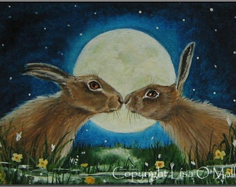 "ACEO Print Hare ""Moonkiss"""