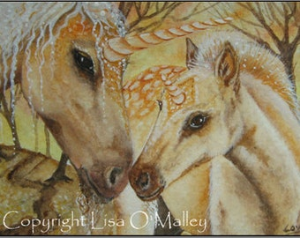 """ACEO Print -""""Amber and Amber's Son"""" Unicorn"""