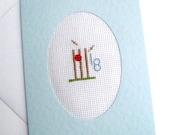18th Birthday Blank Cross Stitch Cricket Card
