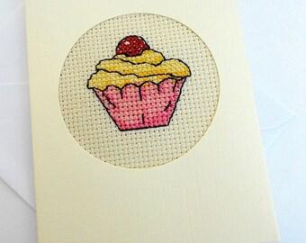 Cross Stitch Cupcake Card