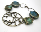 Earth Bracelet- Antiqued brass branch filigree bracelet with beads in blues, greens and browns...perfect for a Nature lover