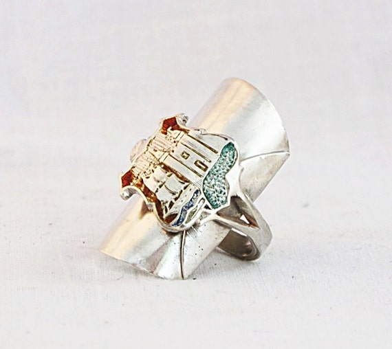 circa 1904 Whole SPOON RING:  Seaside Village crested vintage Sterling Silver WHOLE Spoon Ring - crested treasure unique ooak keepsake