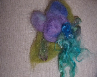 Beautiful Blossom Trio...Needlefelted Flower Pin.....Pretty Pastel