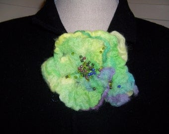 Felted Flower Brooch....Beaded Center....Lusciously Lime Blossom