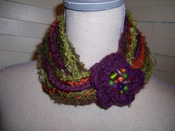 Crocheted Scarf Necklace Neckwarmer with a Purple Beaded Rose and Sparkling Specialty Yarn