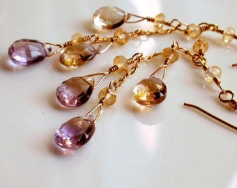 Ametrine and Citrine Gold Filled Earrings