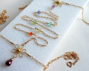 Neck to Belly Body Chakra Chain Ruby Gemstones in Gold Filled and Gold Vermeil