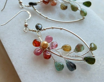 Flower Earrings Pink Green Tourmaline Pearl in Sterling Silver Original Wire Wrapped