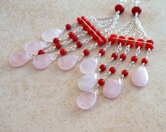 Rose Quartz Red Coral Sterling Silver Long Chain Chandelier Earrings