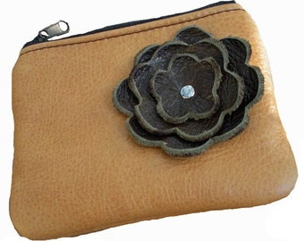 Butterscotch Leather Zipper Coin Pouch with Espresso Brown Flower Poppy