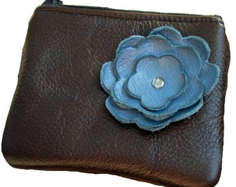 Chocolate  Brown Leather Zipper Coin Pouch with Blue Flower Poppy