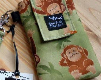 Monkeys Jungle Fabric Iphone  Galaxy Cell Smart  Phone Camera Case Pouch Sleeve Zipper Front Pocket Padded  Wristlet Key Fob Case Washable