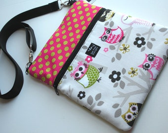 Owl Polka Dots Pink Green Fabric Apple iPad  Kindle DX Nook Color E Reader Passport Travel Messenger Bag  Sling Purse