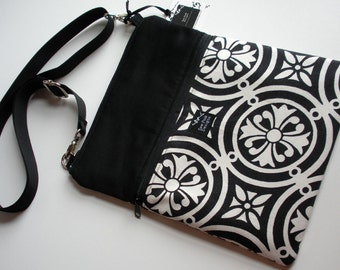 Black White Geometric Medallion Fabric iPad Kindle Nook Color E Reader Passport Travel Crossover Messenger Bag Sling Purse
