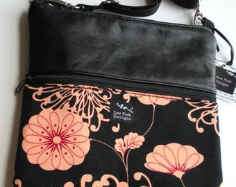 Black Leather Retro Funky Peach Fabric iPad Kindle DX Fire Nook Color Passport Travel Messenger Bag Sling Purse