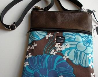 Chocolate Brown Leather Retro Blue White Flowers Fabric iPad Kindle Nook Passport Crossbody Sling  Travel Messenger Bag  Sling Purse