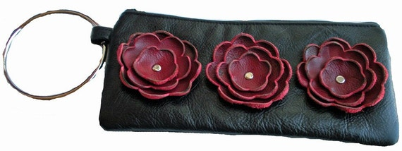 Cutom Listing for HB Black Leather Bangle Wristlet  Clutch with Oxblood Red Poppies Flowers