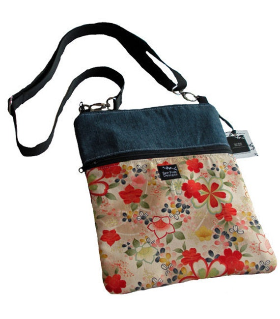Japanese Asian Red Flower Fabric Denim iPad Kindle Nook E Reader Sleeve Passport Travel  Messenger Bag  Sling Purse Washable