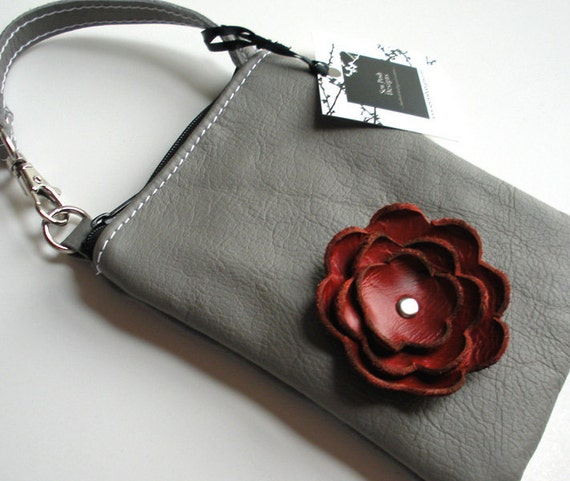 Gray Leather Cell Phone Galaxy Iphone Droid Gadget Case Zipper Pouch Sling Crossbody Small Purse Red Poppy Flower
