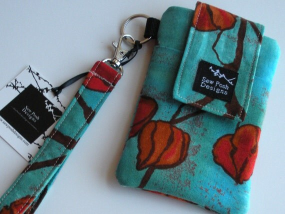 Iphone Blackberry Droid Cell Phone Camera Sleeve Asian Flowers Teal Orange Turquiose Fabric  Wristlet Key Fob Case Front Pocket Washable