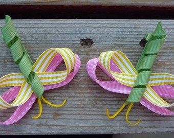 Yellow, Pink and Sage Little Missy Hair Dragonfly(set of 2)