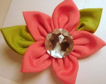Bright Pink Ribbon FiFi Flower Hair Clip