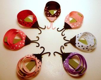 I HEART Ladybugs Hair Clippie Set