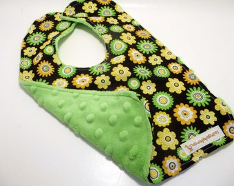Daisies and Dots, Black, Lime and Yellow Flower Bib