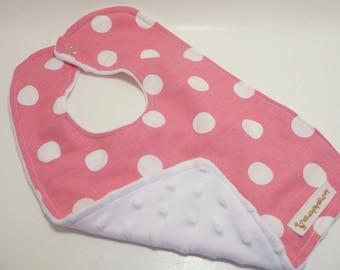 Hot Pink with White Polka Dots Bib