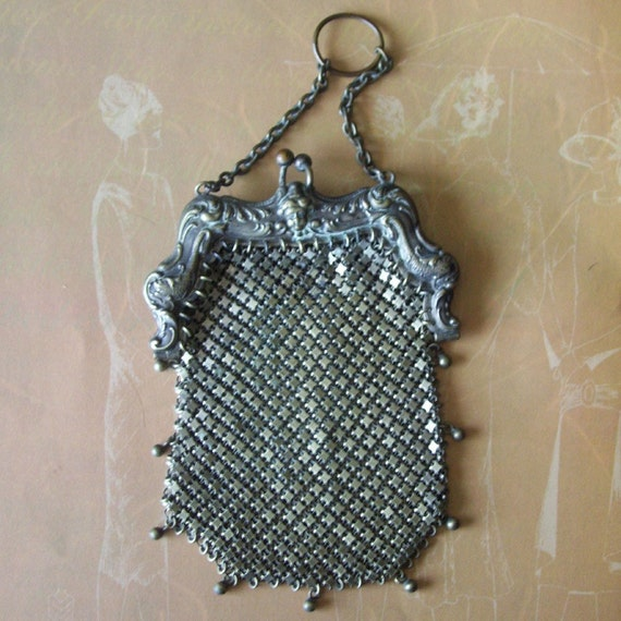 RESERVED FOR HOLLY vintage silver mesh purse