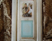 Shabby Crackled Vintage Look Wall Art Jesus The Good Shepard with Scipture reading