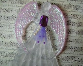 Victorian Elegant Frost and glitter angel Ornament Purple accents