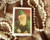 Old World Santa Wood Ornament, green, antiqued, distressed white