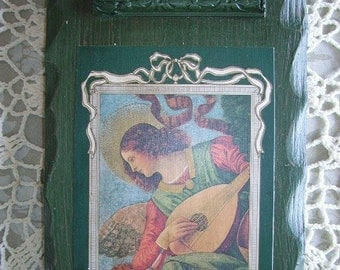 Renaissance Angel Petite Wall Art, Upcycled, Green, Musical Angel, distressed, Recycled decor