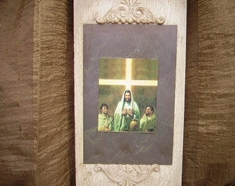 Recycled Art with Jesus at Last Supper OOAK