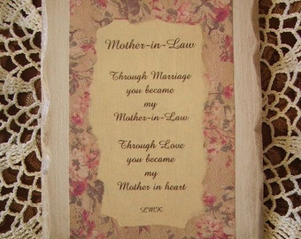 Cottage Chic Plaque with original poem for Mother in Law