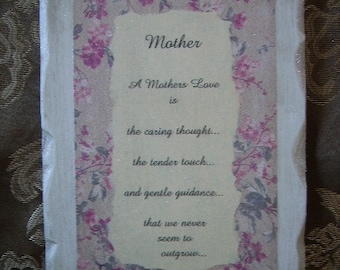 Mother poem, Shabby and Chic Inspirational Sign for Mother, Mother gift, custom option, antiqued white, beige roses
