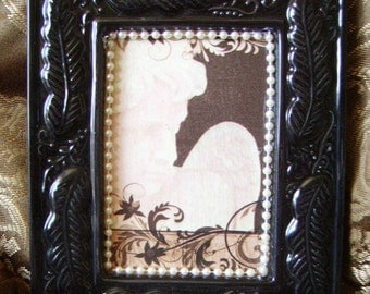 Ivory and black Elegant Cherub Wall Decor OOAK
