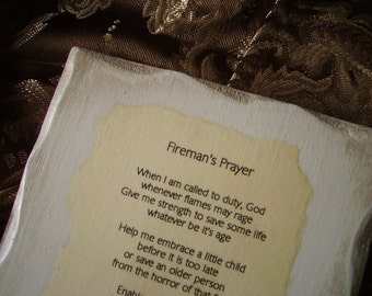 Shabby Distressed Firemans Prayer Plaque antiqued white