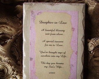 Daughter in Law Inspirational Sign with Original Poem Personalize/customize