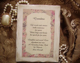Grandmother verse,Vintage Look Inspirational Sign for Grandma, grandmother gift