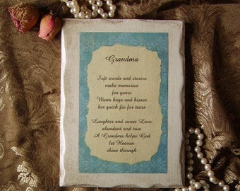 Grandma poem shabby and chic, Grandmother gift, grandma gift, inspirational, aqua blue antiqued white