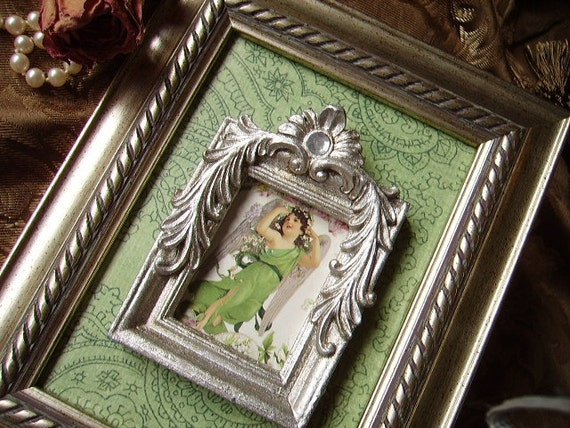 Paris apartment Elegant Angel  wall decor, Green, silver, assemblage, ornate, romantic, victorian angel