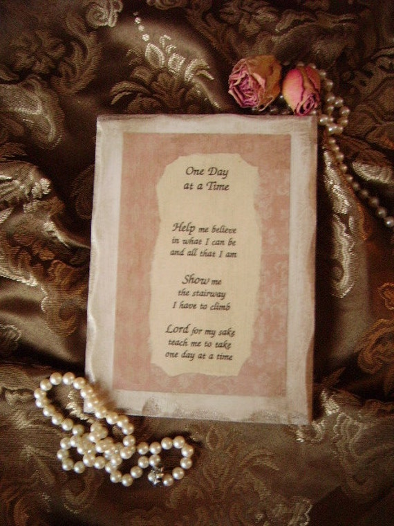 Prayer One day at a Time, Shabby distressed, cottage chic, beige, creamy white