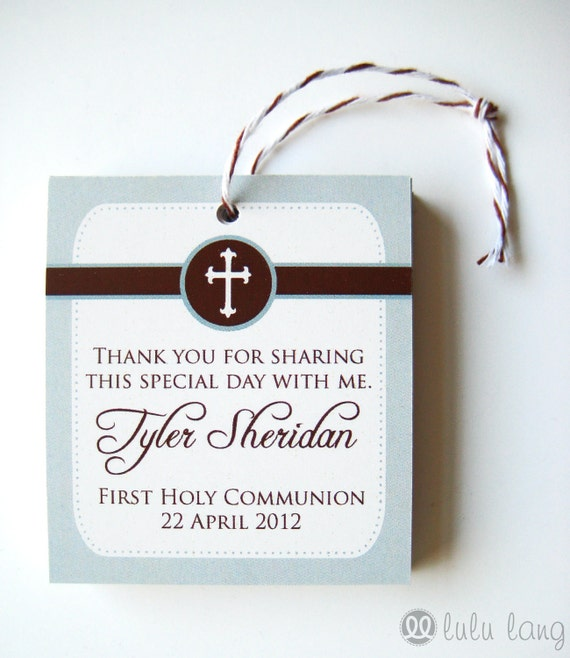 Simple First Communion, Baptism, Christening or Confirmation Favor Tag - Set of 12