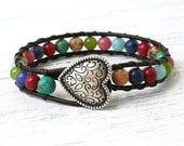 Multicolor Semi Precious Stone Leather Wrap Bracelet, Boho, Earthy