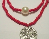 Apple Red Tree of Life Necklace