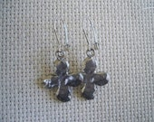 Hammered Antique Silver Cross Earrings